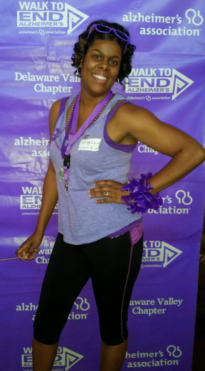 "Angelique Riley, Director of Life Enrichemnt at a ""Walk to End Alzheimers"" event"