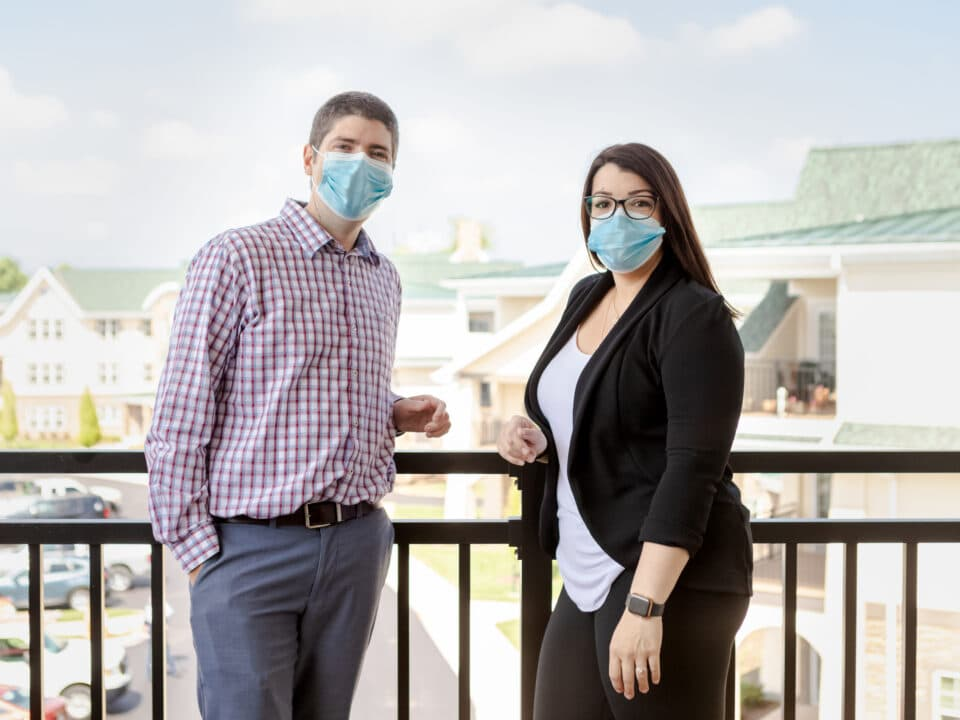 the sales tour team wearing masks