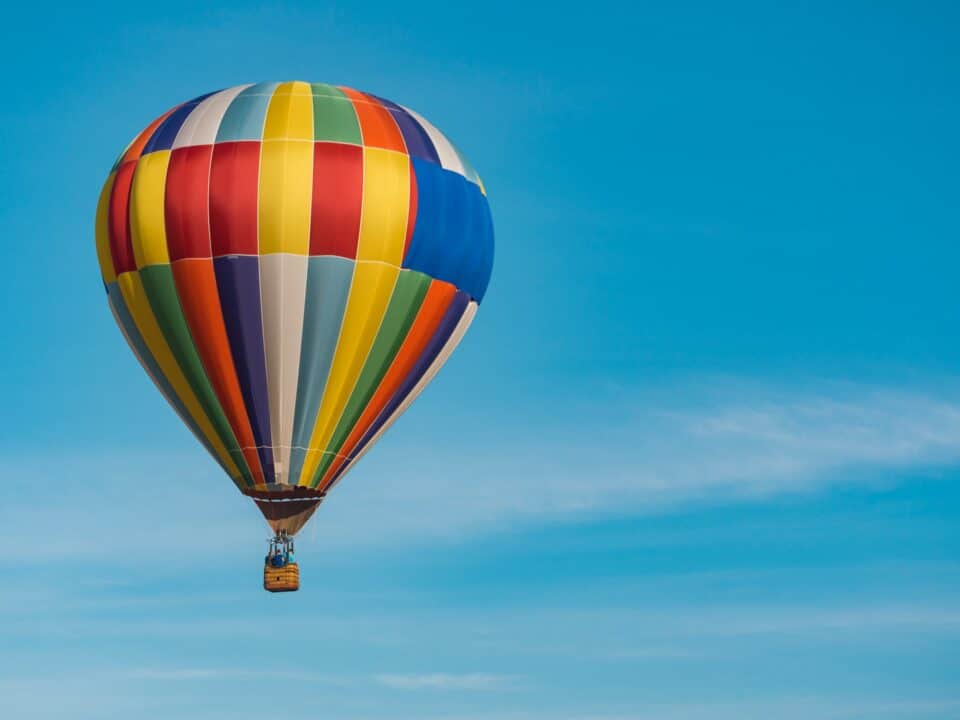 colorful air balloon in flight